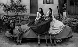 Break time during a street theatre festival known as Fiteca in Lima, Peru.
