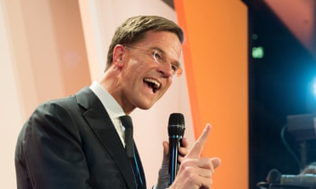 The Dutch PM, Mark Rutte, above, says his country, through the polls, has said 'stop' to the wrong sort of populism.