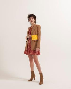 Nadia wears paisley dress, £46, riverisland.com. Blazer, £89.99, zara.com. Bag, £xxx, arket.com. Boots, £99.99, zara.com