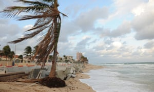 Here is what's left of Fort Lauderdale Beach in Florida. What used to be a popular tourist destination for spring breakers and many others has now become a very small damaged beach and boardwalk seen here, due to beach erosion and the recent Hurricane Sandy.