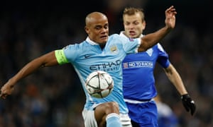 Manchester City's Vincent Kompany in action against Dynamo Kyiv