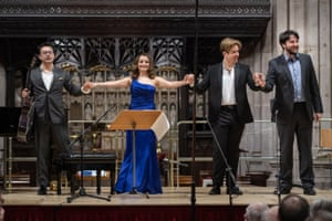 Sean Shibe, Soraya Mafi, Elgan Llŷr Thomas and William Morgan at the 2019 Ludlow English song weekend.