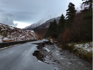 A destroyed road from Ambleside to Keswick in the Lake District, Cumbria, 12 December