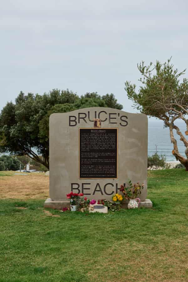 A plaque in Manhattan Beach where Charles and Willa Bruce owned a resort on the land before it was taken away by the city in 1924.