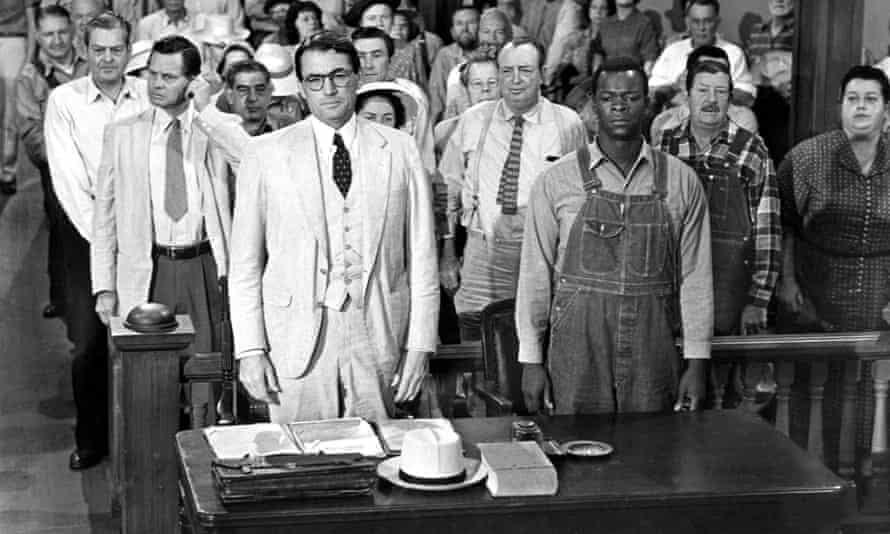 Gregory Peck, left front, and Brock Peters, right front, in the 1962 film version of To Kill a Mockingbird.
