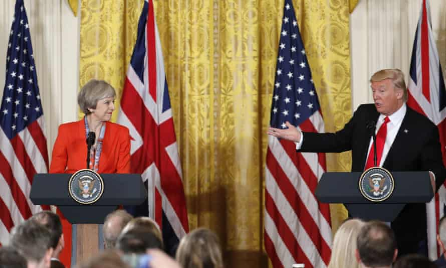Theresa May and Donald Trump at the White House in Washington