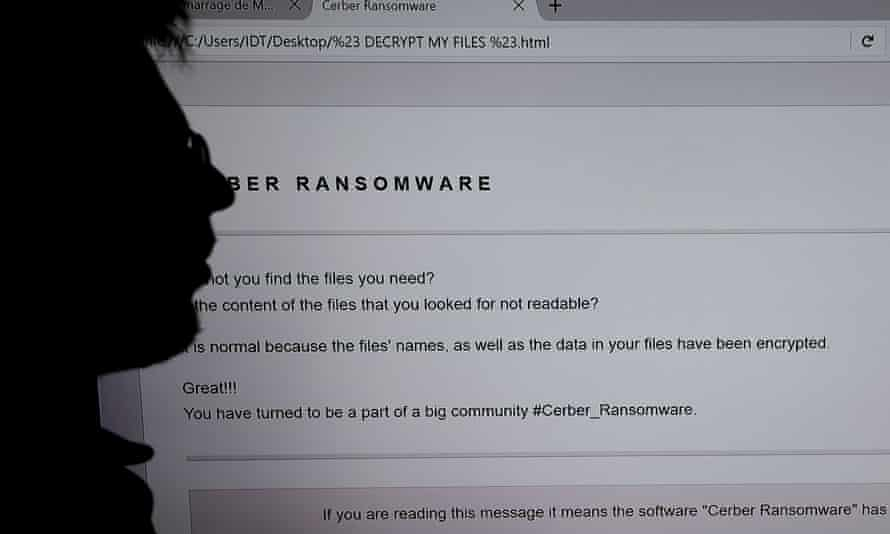 The screen of a computer infected by a ransomware virus.