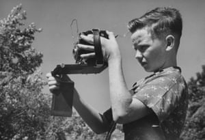 Bill Ray aged 11 with a Speed Graphic camera, 1947
