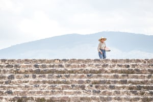 Man selling souvenirs at pyramids of Teotihuacan – once one of the largest cities in the Americas