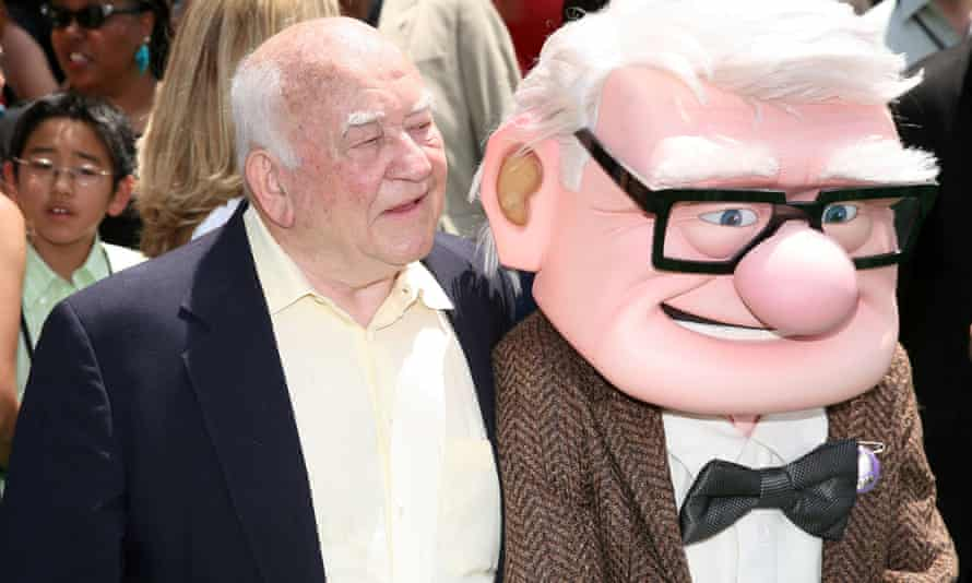 Ed Asner at the premiere of Disney Pixar's film Up in Hollywood, 2009. Asner provided the voice of the character Carl Fredricksen in the film.
