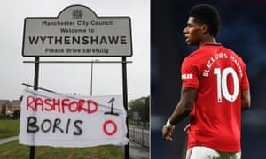 A banner is seen in Wythenshawe after Britain's Prime Minister Boris Johnson and government in England agreed to extend free school meals during the summer holidays for struggling families in England, bowing to pressure from Manchester United football player Marcus Rashford