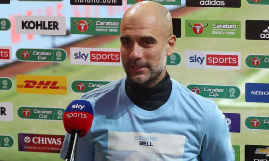 Pep Guardiola wears a T-shirt in tribute to Colin Bell after Manchester City's Carabao Cup semi-final victory.