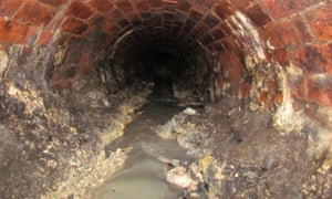 Down the drain ... fat deposits on a sewer's walls.