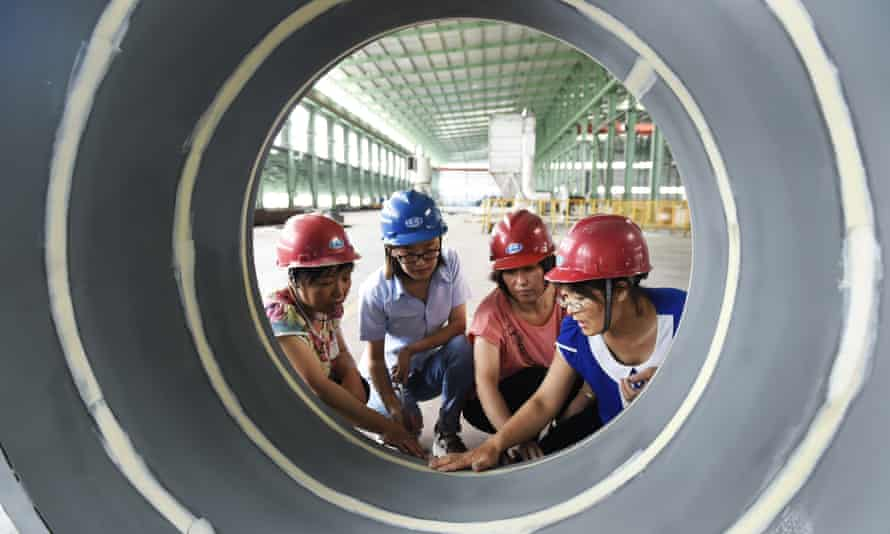 Factory workers in Zouping in Shandong province, eastern China
