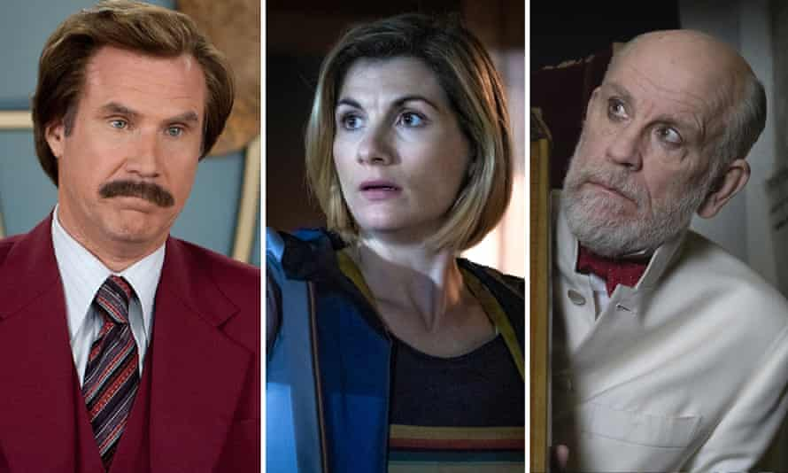 Will Ferrell in Anchorman, Jodie Whittaker in Doctor Who and John Malkovich in The New Pope