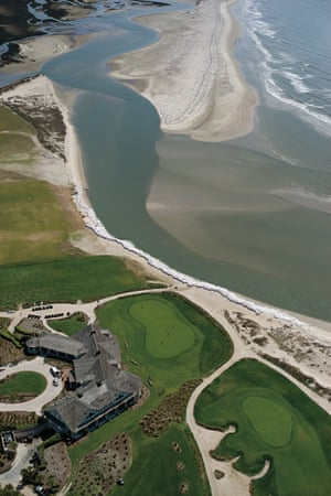 Sandbags have been placed in front of a golf course in an effort to protect it from erosion on Kiawah Island