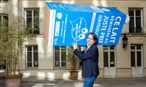 Nicolas Chabanne promoting his milk brand, C'est qui le patron?!, in December 2018.