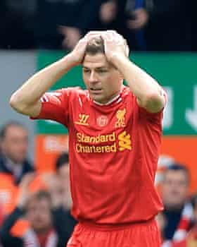 A dejected Steven Gerrard after his infamous slip for Liverpool against Chelsea in 2014