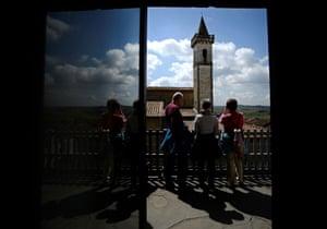 Visitors admire Santa Croce church