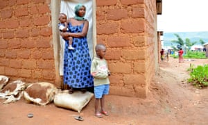 Mireille, 30 and two of her sons, aged four and one, in Mahama refugee camp in Rwanda