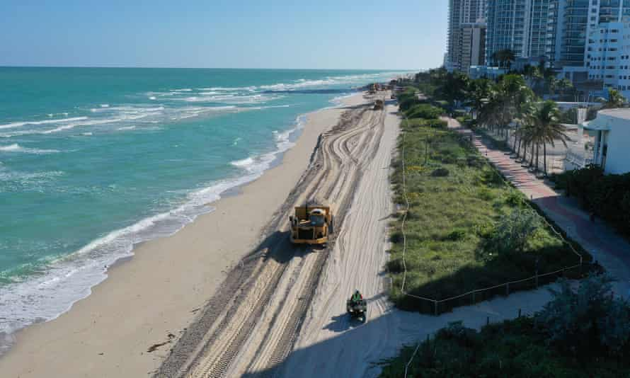 61,000 tons of sand is being dumped on Miami Beach to counter rising sea levels.