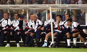 Gary Lineker on the bench against Sweden