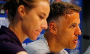 England's Phil Neville sat alongside Karen Bardsley during a press conference on Wednesday.