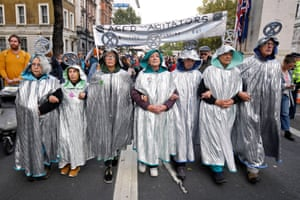 London, UK. The Aged Agitators march through London during the ongoing Extinction Rebellion climate protests