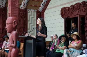 Jacinda Ardern, New Zealand Prime Minister, photographed February, 2019. Waitangi Treaty Grounds, Upper Marae, 5/02/19, Jacinda speaks at a Powhiri for Government and Parliamentarians.