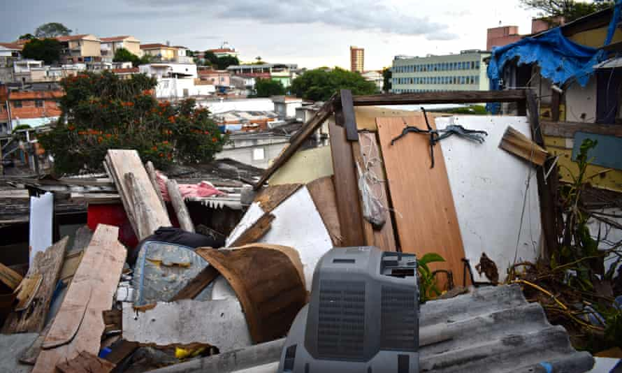 The remains of a house that collapsed in Boi Malhado, an area of a favela in Zona Norte, Sao Paolo