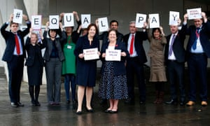 Scottish Labour leader Kezia Dugdale (front left) and other Scottish Labour MSPs mark Equal Pay Day outside Parliament in Edinburgh.