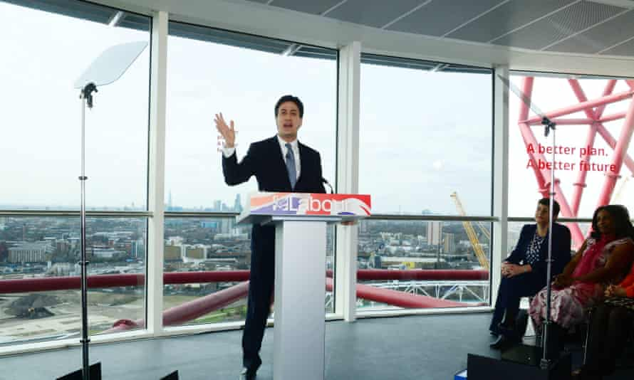 Ed Miliband launches Labour's general election campaign near the Olympic stadium in London.