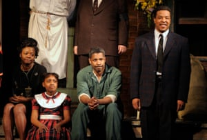 Viola Davis, Sacha Stewart-Coleman, Denzel Washington and Russell Hornsby at the curtain call for August Wilson's Fences on Broadway in 2010.