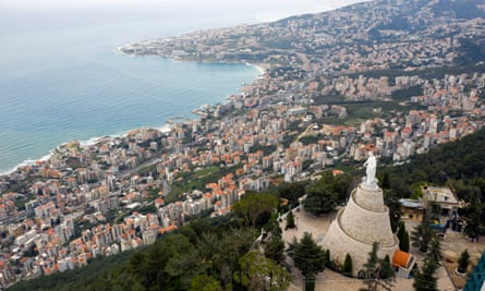 The statue Our Lady of Lebanon in the town of Harissa north of Beirut.