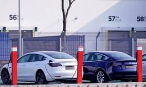 Chinese-built Tesla Model 3s outside Tesla's gigafactory in Shanghai.