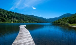 Wooden boat pier on Lago Tinquilco in the Huerquehue, southern Chile