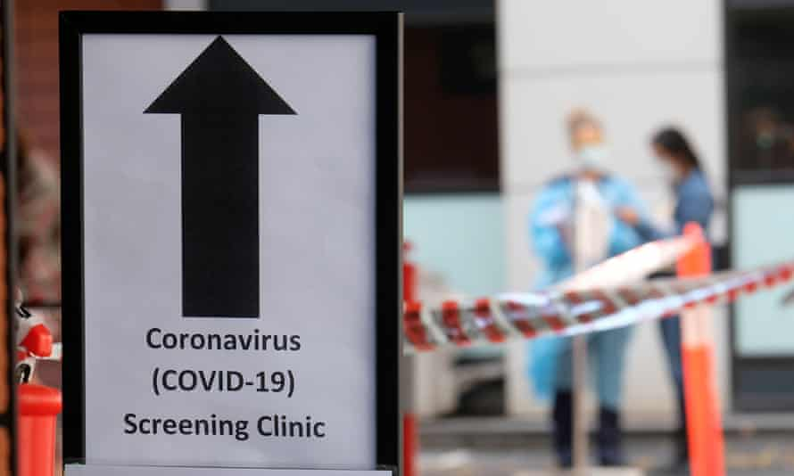 People attend a coronavirus screening clinic in Melbourne for Covid-19 testing