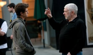 Andy Armstrong with Andrew Garfield on the set of The Amazing Spider-Man