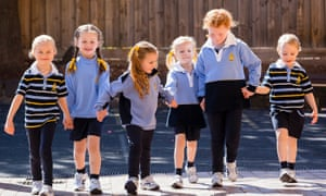 Students at Lowther Hall Anglican Grammar School, Essendon, in their new school uniform, which replaces skirts and dresses with shorts and trousers for girls in younger years.