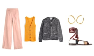 Trousers, £134, jcrew.com Vest, £18, next.co.uk Jacket, £79, hush-uk.com Sandals, £89.99, zara.com Earrings, £135, monicavinader.com
