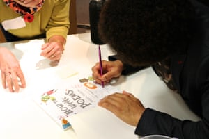 Joseph Coelho meets delegates and signs books at the Guardian Education Centre Reading for pleasure conference 9 November 2018