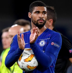 Loftus-Cheek collects the match ball after scoring his hat-trick.
