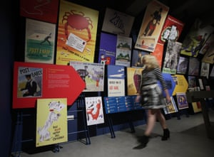 A selection of Post Office designs through the ages, on display during a preview of the Postal Museum in London.
