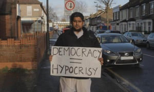 The radical extremist Abu Rumaysah as he appears in the Channel 4 documentary The Jihadis Next Door.