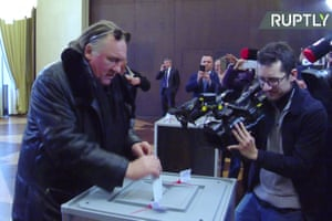 "A video grab made from footage shot by Ruptly video news agency on March 18, 2018, shows French-Russian actor Gerard Depardieu casting his ballot as he votes during Russia's presidential election at the Russian Embassy in Paris. Russians were voting on March 18 in a presidential election set to hand the incumbent president a record fourth term, with officials reporting strong turnout but the opposition crying foul. / AFP PHOTO / RT FRANCE / - / RESTRICTED TO EDITORIAL USE - MANDATORY CREDIT ""AFP PHOTO / RT FRANCE"" - NO MARKETING NO ADVERTISING CAMPAIGNS - DISTRIBUTED AS A SERVICE TO CLIENTS - NO ARCHIVES - TO BE USED WITHIN 30 DAYS FROM 18/03/2018 -/AFP/Getty Images"