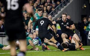 Ireland's Rob Kearney knocks on by the try line.