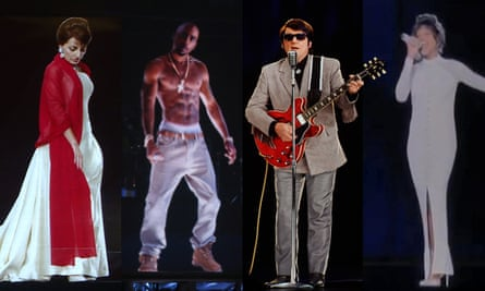 Holographic projections, from left, of Maria Callas, Tupac Shakur, Roy Orbison and Whitney Houston.