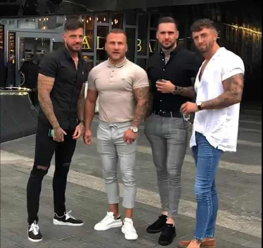 Four lads in jeans meme.
