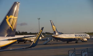 Ryanair planes stuck on the airport at Frankfurt-Hahn airport in Germany.