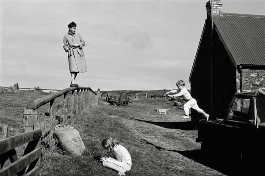 Fleeing his myth … Paul McCartney with Stella and James, in a shot by Linda, on the Mull of Kintyre in 1982.